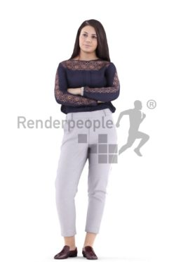 3d people casual, caucasian woman standing and waiting