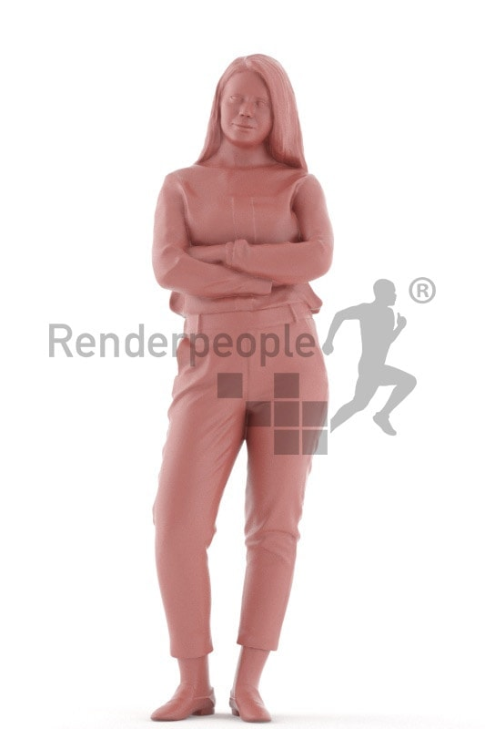 3d people caucasian woman standing