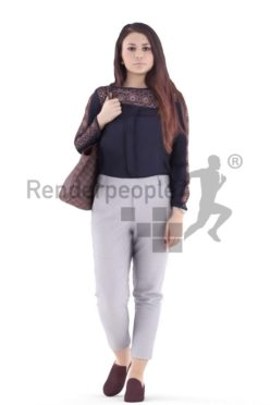 3d people casual, caucasian woman walking and holding bag