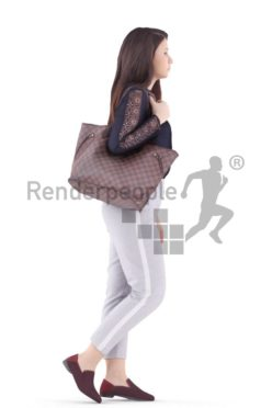 3d people caucasian woman walking with bag