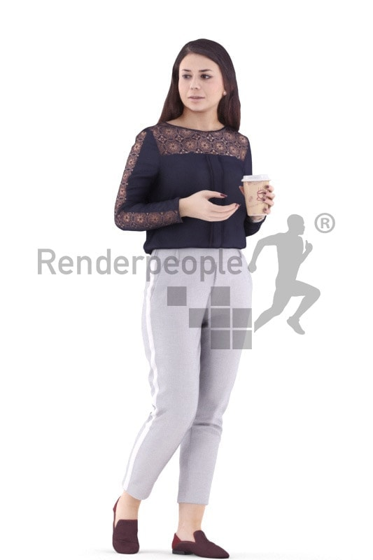 3d people caucasian woman walking with cup of coffee
