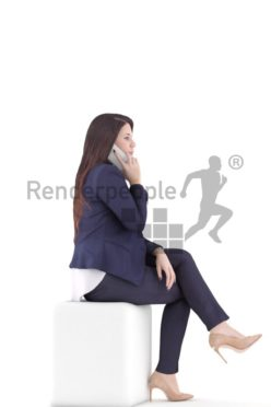 3d people business woman sitting and talking