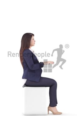 3d people business woman sitting and typing