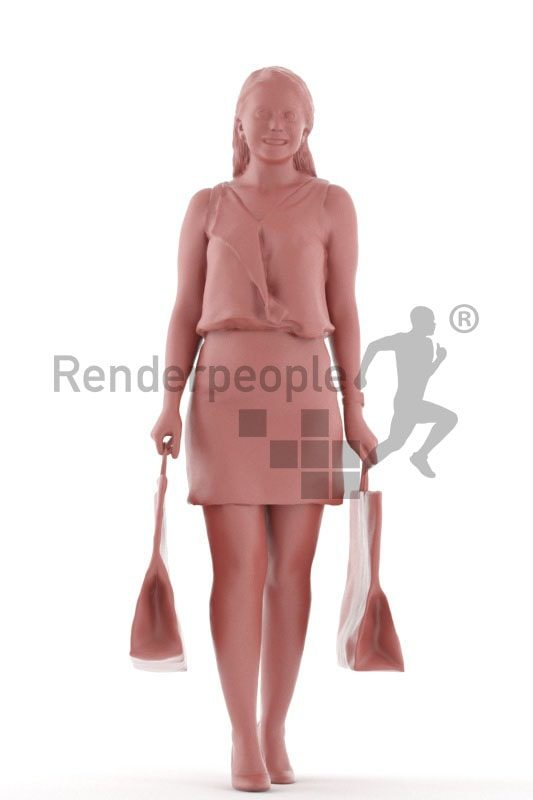 3d people event, south american 3d woman shopping