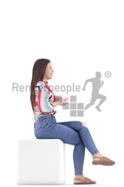 3d people casual, south american 3d woman sitting and talking