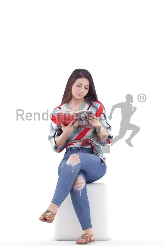 3d people casual, south american 3d woman sitting and reading