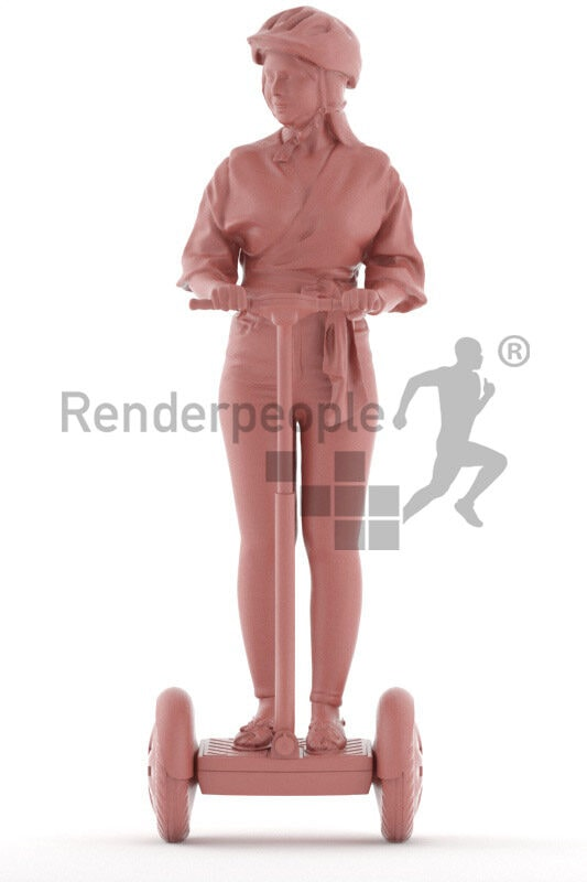 Photorealistic 3D People model by Renderpeople – middle eastern woman in smart casual outfit, wearing a helmet on e-scooter