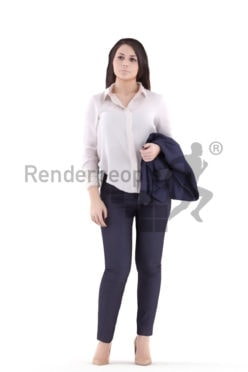 3d people business, white 3d woman standing and holding
