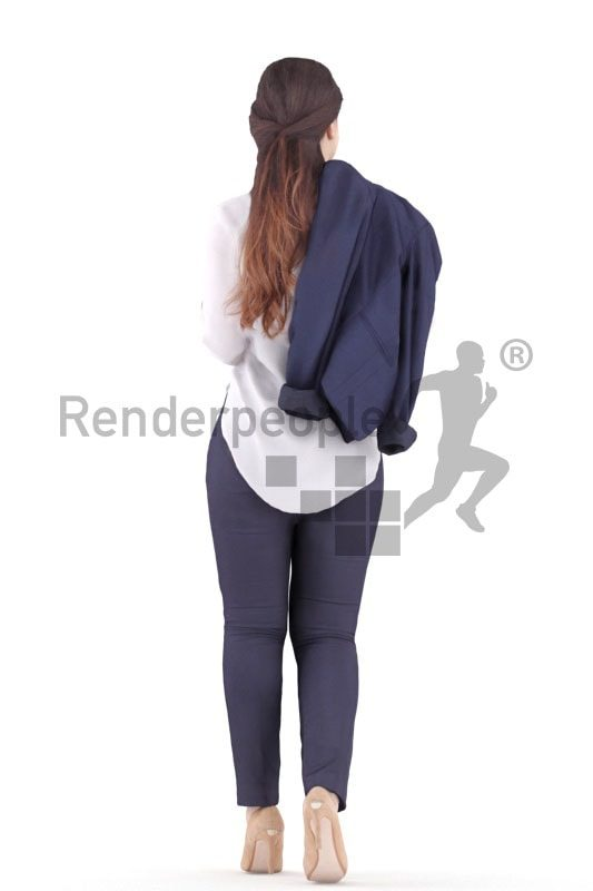 3d people casual, south american 3d woman walking and talking