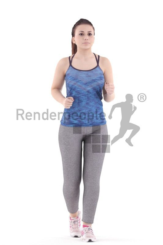 3d people sports, south american 3d woman running