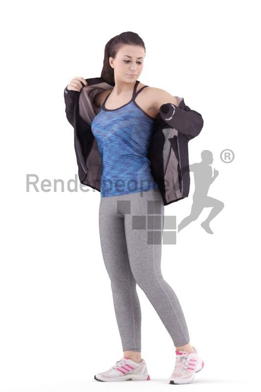 3d people sports, south american 3d woman changing clothes