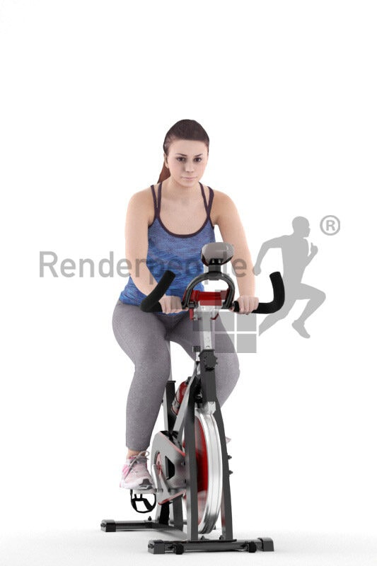 3D People model for 3ds Max and Blender – european woman in sports outfit, exercising with ergometer