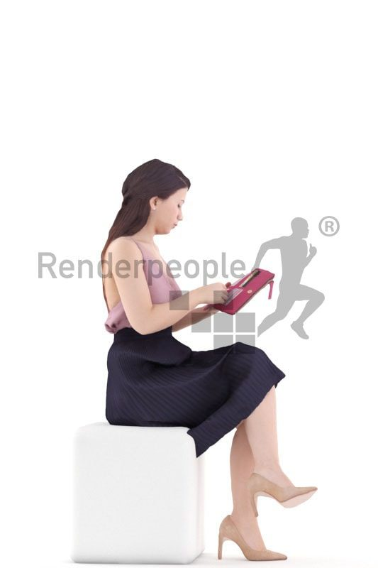 3d people event, south american 3d woman sitting and holding clutch