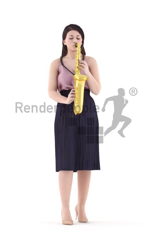 Posed 3D People model by Renderpeople – european woman in event dress, playing an instrument
