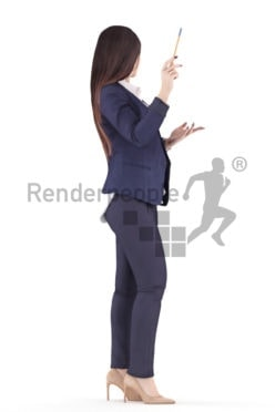 3d people business, caucasian woman standing and presenting