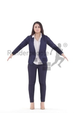 Rigged human 3D model by Renderpeople, white woman, business