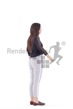 Rigged human 3D model by Renderpeople, white woman, smart casual