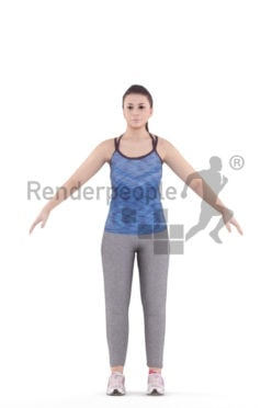 Rigged and retopologized 3D People model, white woman, sports clothing