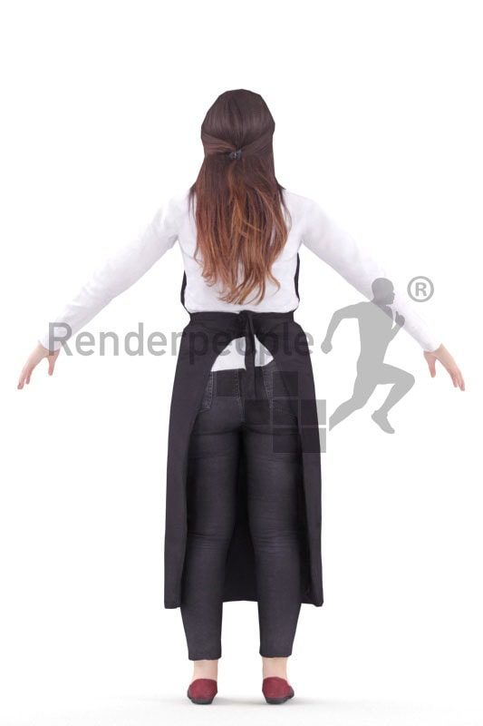 3d people waiter, rigged woman in A Pose