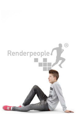 3d people kids, white 3d child sitting on the floor