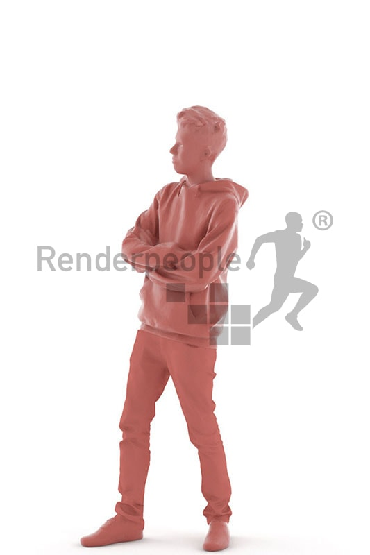 3d people kids, white 3d child standing
