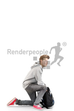 3d people kids, white 3d child with his backpack