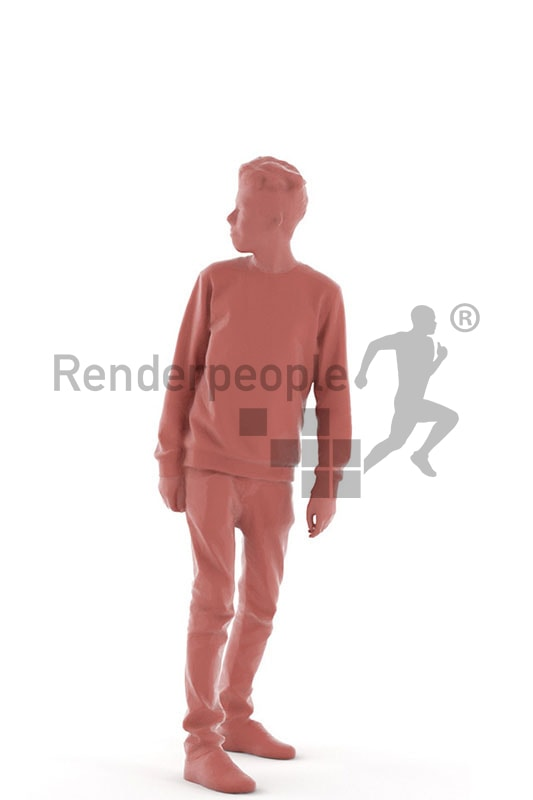 3d people kids, white 3d child standing looking over his shoulder