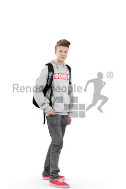 3d people kids, white 3d child standing wearing a backpack