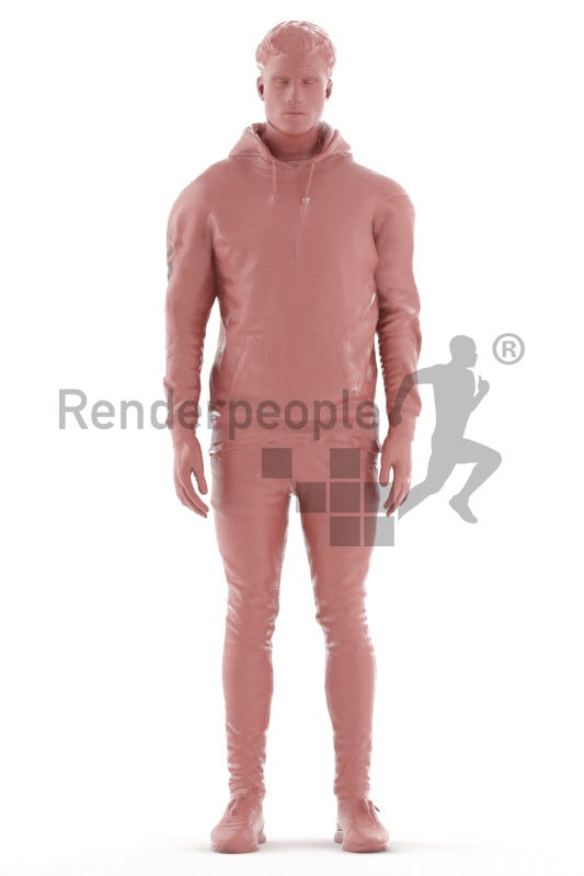Animated human 3D model by Renderpeople – european male in hoodie, standing