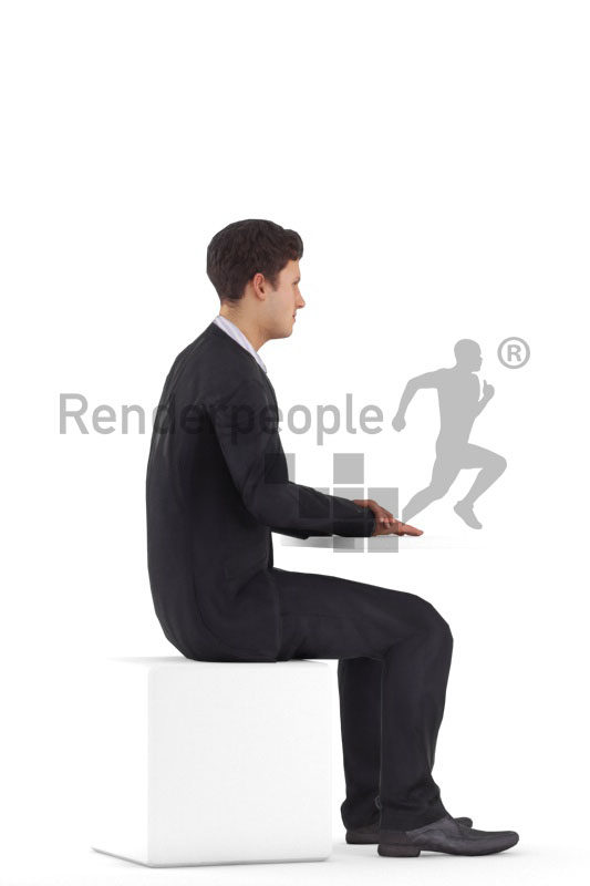 3D People model for animations – white man in business look, sitting and smiling