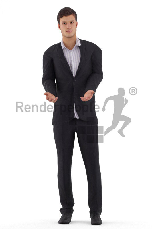 3D People model for animations – eurpoean male in a suit, standing and talking
