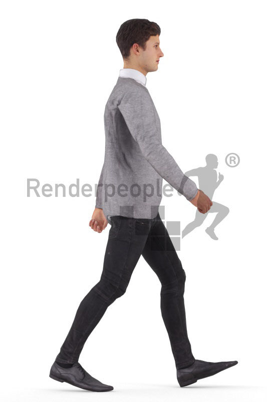 Animated 3D People model for Unreal Engine and Unity – european man in business clothes, walking