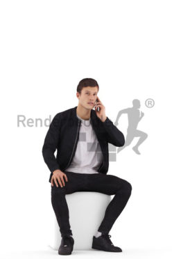 Posed 3D People model by Renderpeople – european man, casual look, sitting and calling