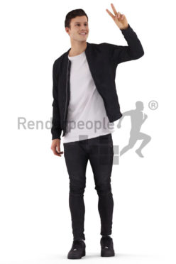 3D People model for 3ds Max and Maya – casual european man. greeting