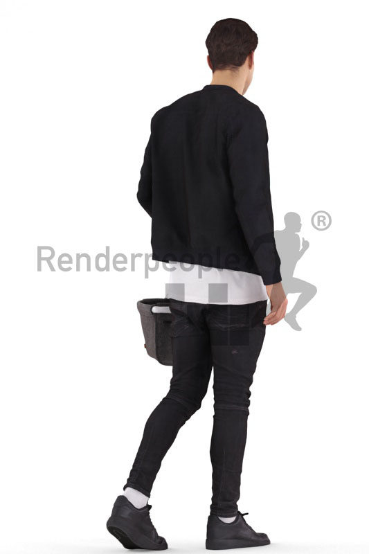 Photorealistic 3D People model by Renderpeople – white man, casual, walking with a basket