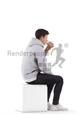 Posed 3D People model by Renderpeople – european man sitting and drinking coffee
