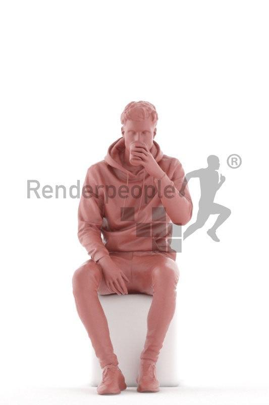 Posed 3D People model by Renderpeople – european man sitting and drinking coffee