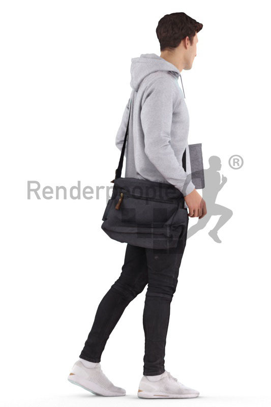 Scanned 3D People model for visualization – white man, casual dressed, walking with a bag