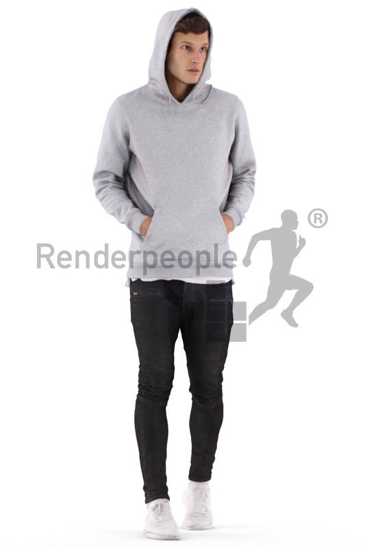 3D People model for 3ds Max and Maya – white man walking in a hoodie