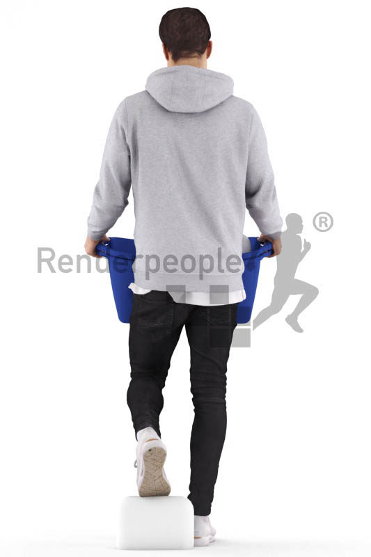 Posed 3D People model by Renderpeople – european man, walking downstairs with laundry basket