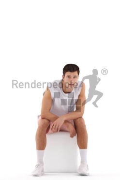 Photorealistic 3D People model by Renderpeople – white man sitting in sports wear