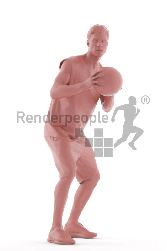 Posed 3D People model for visualization – white man playing basketball
