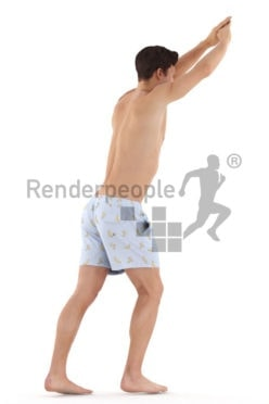 3D People model for 3ds Max and Sketch Up – white man in swimm wear jumping into the water
