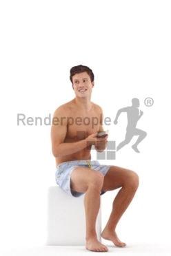 Posed 3D People model for renderings – european man in swimm shorts, sitting