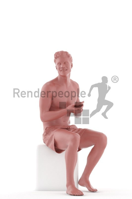 Posed 3D People model for renderings – european man in swimm shorts, sitting