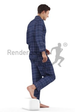 3D People model for 3ds Max and Maya – white man, walking downstairs in sleep wear