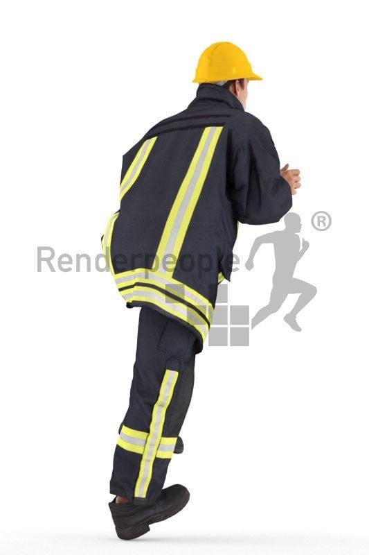 3d people fireworker,3d white man, walking upstairs