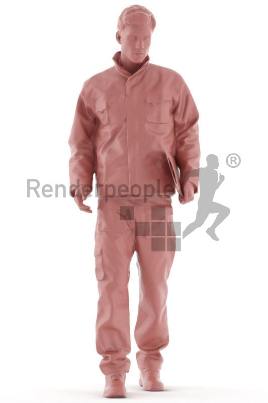 3d people worker,3d white man, walking with a clipboard