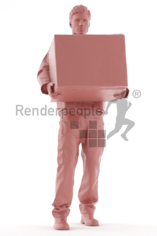 3d people worker,3d white man, carrying a packing case