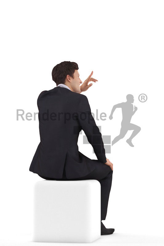 3d people business,3d white man, sitting and saluting